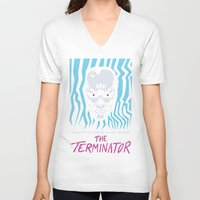 terminator V-neck T-shirts featuring The Terminator by Daniel Grushecky