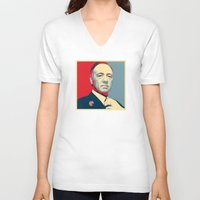 frank underwood V-neck T-shirts featuring House of Cards - Frank Underwood - Hope/Power Poster by RobHansen