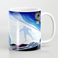 skiing Mugs featuring Cross Country Skiing by Robin Curtiss