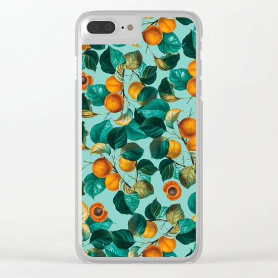 Peach and Leaf Pattern Clear iPhone Case
