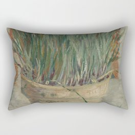 Flowerpot with Garlic Chives Rectangular Pillow