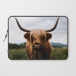 Scottish Highland Cattle in Scotland Portrait II Laptop Sleeve