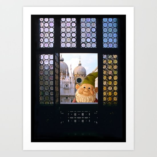 Laughing Gnome  in Venice Art Print