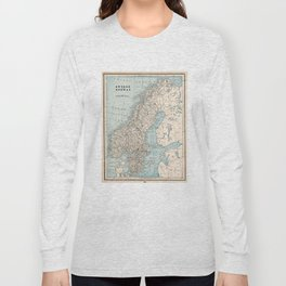 Vintage Map of Norway and Sweden (1893) Long Sleeve T-shirt