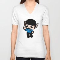 spock V-neck T-shirts featuring Spock by Ziqi