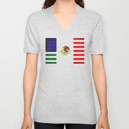 MEXICAN AMERICAN FLAG - 017 Unisex V-Neck