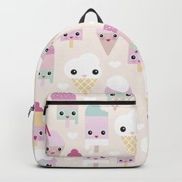 Cute kawaii summer Japanese ice cream cones and popsicle p Backpack