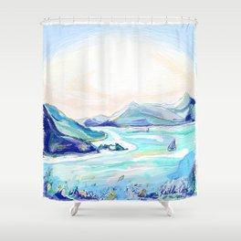 Morning Sailboats Shower Curtain