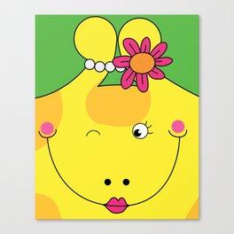 Giraffe Love Art Female - Cute, funny, colorful, lovely Children's Art Canvas Print
