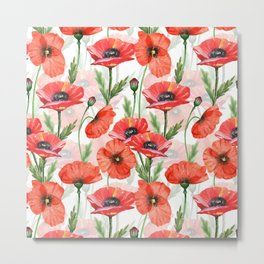 Summer Botanical Poppies Field Metal Print
