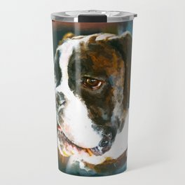 Boxer Dog Portrait  Watercolor Digital Art Travel Mug