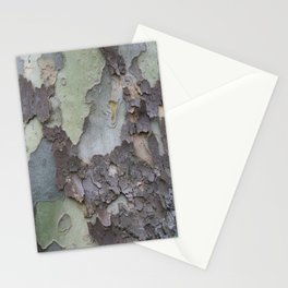 sycamore bark with a green tinge Stationery Cards