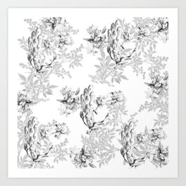 PEACOCK LILY TREE AND LEAF TOILE GRAY AND WHITE PATTERN Art Print