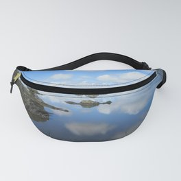 PUFFY CLOUD REFLECTIONS ON WATER AND ROCKS Fanny Pack