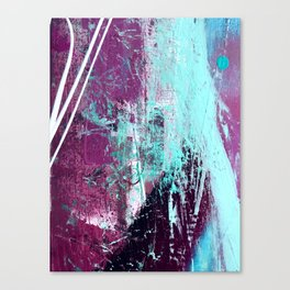 01012: a vibrant abstract piece in teal and ultraviolet Canvas Print