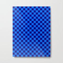 Brandeis Blue and Navy Blue Checkerboard Metal Print