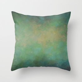 Abstract Soft Watercolor Gradient Ombre Blend 4 Yellow Blue and Green Throw Pillow