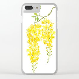 golden shower flower watercolor Clear iPhone Case