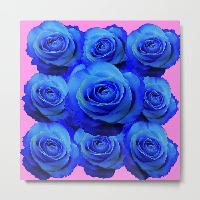 BLUE ROSE GARDEN & PINK PATTERN ART Metal Print
