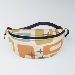 Retro Mid Century Modern Abstract Pattern 922 Orange Olive Blue Fanny Pack