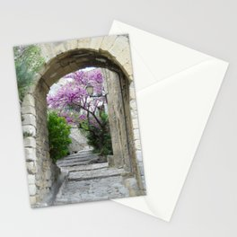 Purple Flowering Tree Through Archway in Provence France Stationery Cards