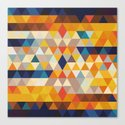 Geometric Triangle - Ethnic Inspired Pattern - Orange, Blue by pelaxy