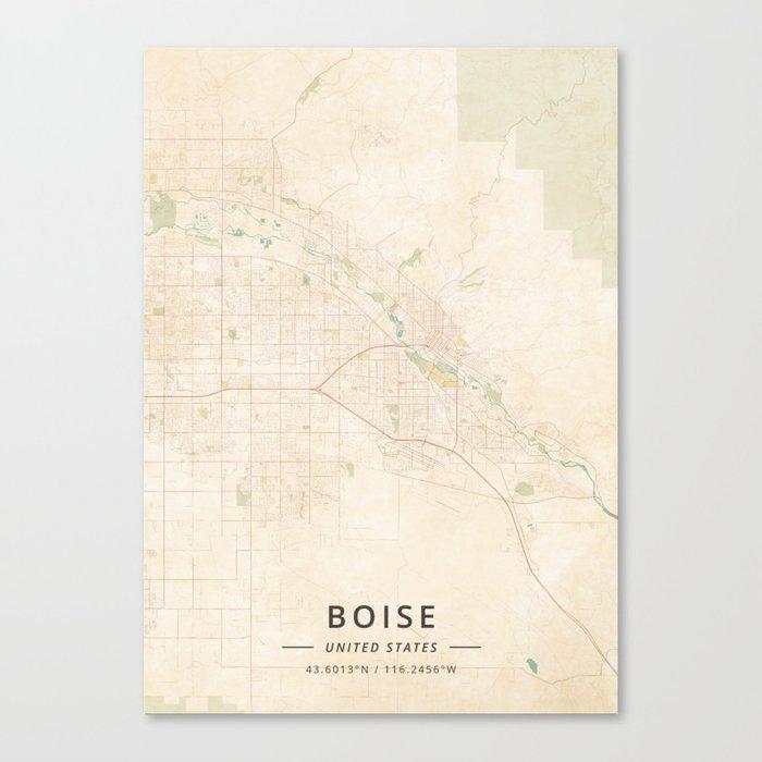 Boise, United States - Vintage Map Leinwanddruck