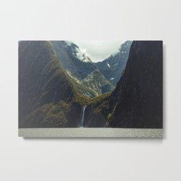 Milford Sound Waterfall Metal Print