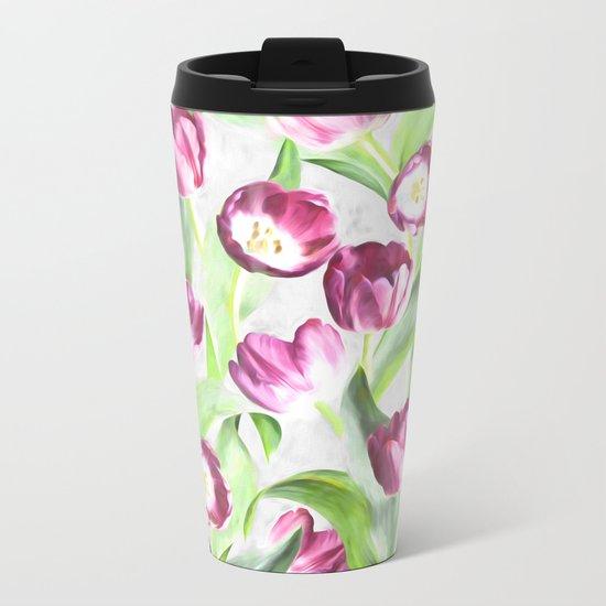 Bright Tulips on Soft Grey Metal Travel Mug