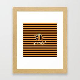Be (Bee) Grateful Cute Funny Gift Women Men Boys Girls Kids Framed Art Print
