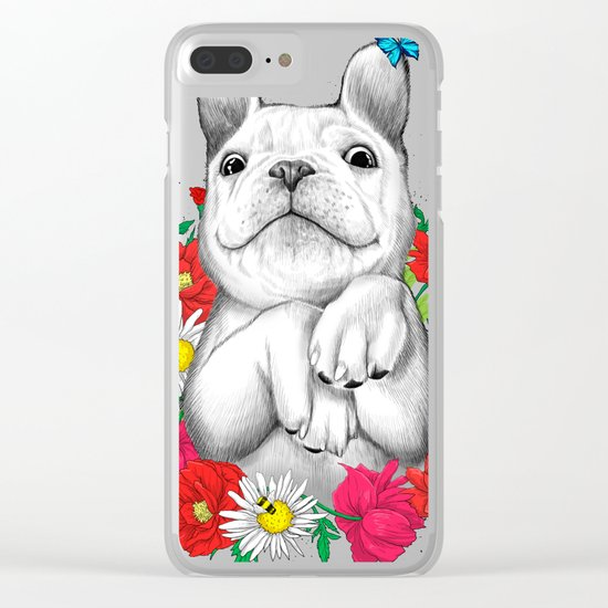 dog in flowers Clear iPhone Case