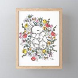Bunny in the midst of Flowers Framed Mini Art Print