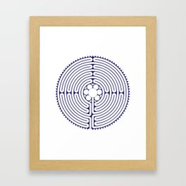Cathedral of Our Lady of Chartres Labyrinth - Blue Framed Art Print