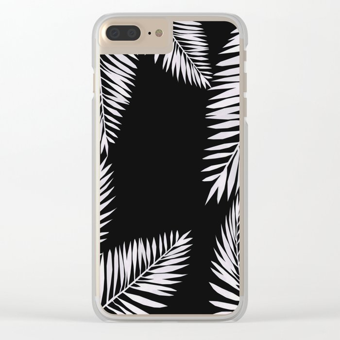 Watercolor tropical palm leaves black Clear iPhone Case
