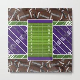 Purple Football Field and Footballs Metal Print