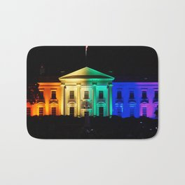 The White House in Rainbow Colors Bath Mat