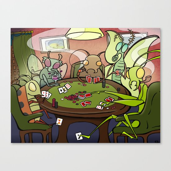 Bugs Playing Poker Canvas Print
