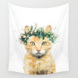 Boho Watercolor Cat, Cat Lady, Plant Lady, Funny cute Cat, home decor, nursery animal wall art Wall Tapestry