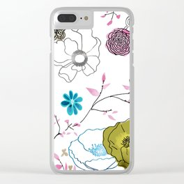 Snow large floral on white Clear iPhone Case