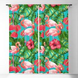 Flamingo birds and tropical garden          watercolor Blackout Curtain
