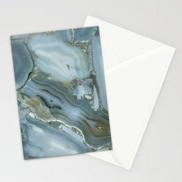 Blue Gold Marble Texture Pattern Cutest Stationery Cards