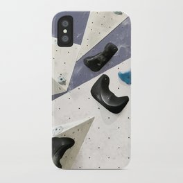 Geometric abstract free climbing bouldering holds black blue men iPhone Case
