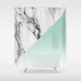 White Marble with Teal Dip Shower Curtain