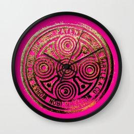 notting hill: hot pink & bronze  Wall Clock