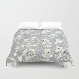 arctic polar bears silver Duvet Cover