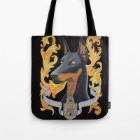 doberman Tote Bags featuring doberman - Vera by PaperTigress