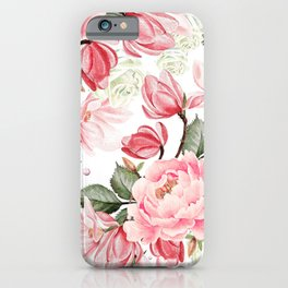 Floral Kingdom Watercolor Painting Pink Red Peony Flowers Painting Green Leaves Floral Design iPhone Case