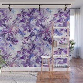Dragonfly Lullaby in Pantone Ultraviolet Purple Wall Mural