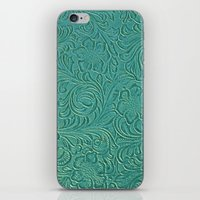 leather iPhone & iPod Skins featuring teal leather by Sylvia Cook Photography