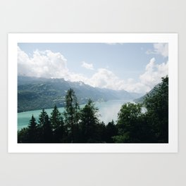 Photo of the view over Lake Brienz (the Brienzersee), Suisse | Colorful travel photography | Art Print